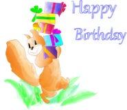 Imagem de cartão do aniversário do bebê para pouco esquilo ilustração royalty free