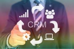 Imagem de CRM com ponteiro da mão Fotos de Stock