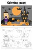 A imagem de Dia das Bruxas com a bruxa no estilo dos desenhos animados, página colorindo, jogo de papel da educação para o desenv ilustração stock