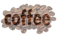Imagem de feijões de café e do café destacado do texto fotos de stock royalty free