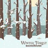 Imagem de Forest Background Snow Tree Vetora do inverno Fotos de Stock Royalty Free