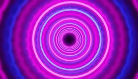 A imagem de fundo azul-cor-de-rosa colorida com túnel dos círculos rende, estilo retro do partido fotografia de stock