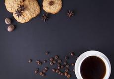 Imagem de fundo com café e biscoitos Foto de Stock