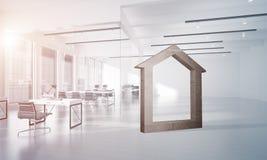 A imagem de fundo conceptual de home concreto assina dentro o interior moderno do escritório Fotos de Stock