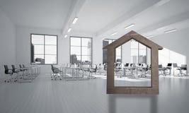 A imagem de fundo conceptual de home concreto assina dentro o interior moderno do escritório Imagens de Stock