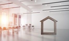 A imagem de fundo conceptual de home concreto assina dentro o interior moderno do escritório Fotos de Stock Royalty Free