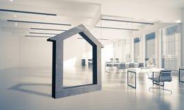 A imagem de fundo conceptual de home concreto assina dentro o offi moderno Fotografia de Stock Royalty Free