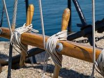 Imagem de fundo da navigação da polia das cordas das velas Fotografia de Stock