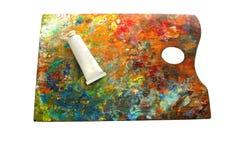 Imagem de fundo do close up brilhante da paleta da óleo-pintura, Fotografia de Stock