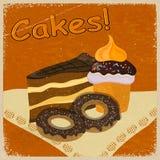 Imagem de fundo do vintage de um pedaço de bolo e de cookies Fotografia de Stock Royalty Free