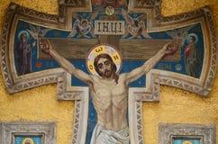 A imagem de Jesus Christ nas paredes do templo foto de stock