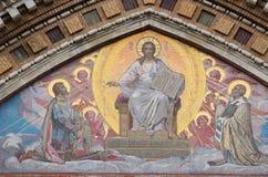 A imagem de Jesus Christ nas paredes do templo fotos de stock