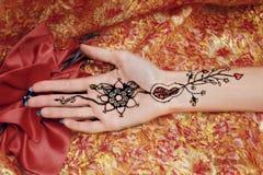 Imagem de Mehendi na mão da palma Fotografia de Stock