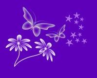 Imagem de néon como o fundo com borboletas foto de stock