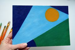 Imagem de pintura no planeta do simbolismo da natureza da arte da mão imagem de stock royalty free