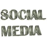 Imagem de prata social da palavra 3D dos meios Fotos de Stock