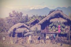 Imagem de Putao, vila remota do vintage em Myanmar Fotos de Stock