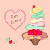 Imagem de um bolo e do feliz aniversario das palavras Imagens de Stock Royalty Free