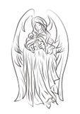 Imagem de um bPicture de uma menina bonita do anjo em um chiqueiro dos desenhos animados Foto de Stock Royalty Free
