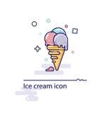 Imagem de um gelado em um copo do waffle em um estilo liso e em uma melancia estilizado Imagem de Stock