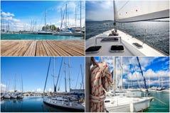 Imagem de um iate bonito no mar aberto no dia ensolarado collage foto de stock royalty free