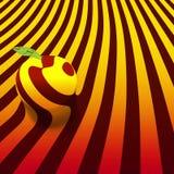 Imagem de uma maçã em um fundo abstrato listrado Eps 10 Imagem de Stock