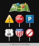 Imagem de vários sinais de estrada ilustração royalty free
