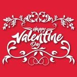 Imagem de Valentine Day Floral Text Vetora Imagem de Stock Royalty Free