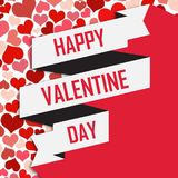 Imagem de Valentine Day White Ribbon Vetora Fotografia de Stock Royalty Free
