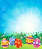 Imagem decorada 6 do tema dos ovos da páscoa Foto de Stock