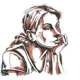 Imagem desenhado à mão artística do vetor, retrato do melanchol delicado Fotos de Stock