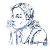 Imagem desenhado à mão artística do vetor, retrato preto e branco do de ilustração stock