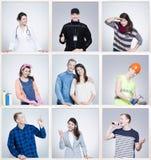 A imagem dividiu-se em nove porções com os trajetos diferentes da carreira Homem novo e mulher nos uniformes Foto de Stock
