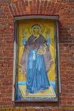 Imagem do ícone da parede do Virgin indestrutível da igreja da mãe de Tikhvin do deus na vila de Kozlovo Imagens de Stock Royalty Free