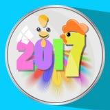 A imagem do ícone o botão um número de vidro da reflexão da pena dois mil décimos sétimos 2017 no fone azul simvol Fotos de Stock