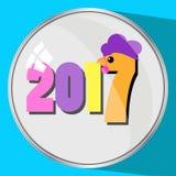 A imagem do ícone o número de vidro da reflexão do botão dois mil décimos sétimos 2017 em um fone azul galinha do galo do Natal d Fotos de Stock