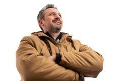 Imagem do baixo ângulo do homem que veste o revestimento morno fotos de stock royalty free