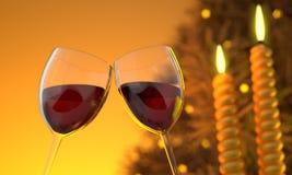 Imagem do CG de dois vidros de vinho fotografia de stock royalty free