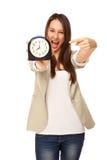 Imagem do chefe da gritaria isolada no foco branco na mulher Imagem de Stock