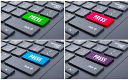Imagem do close up com texto da imprensa em botões coloridos Fotografia de Stock Royalty Free