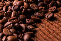 Imagem do close up de grãos de café roasted Fotografia de Stock