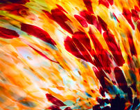 Imagem do close up do vitral colorido na gama amarela vermelha Fotografia de Stock