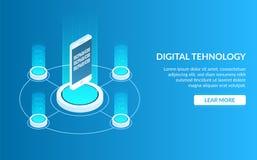 Imagem do conceito da tecnologia digital Telefone celular ou smartphone Desenvolvimento de uma aplicação ou de um jogo móvel móve ilustração royalty free