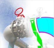 Imagem do conceito de projeto do cad do computador de Wireframe encanamento industrial mim imagens de stock royalty free