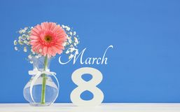 Imagem do conceito internacional do dia das mulheres com a flor bonita no vaso na tabela de madeira Foto de Stock
