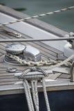 Imagem do estilo do vintage de detalhes bonitos do barco de vela Corda, casca Foto de Stock