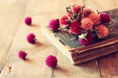 A imagem do foco seletivo de flores secas, da colar antiga e do vintage velho registra na tabela de madeira imagem filtrada retro fotos de stock