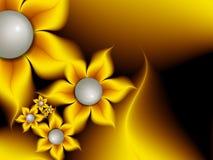 Imagem do Fractal com flores Para seu texto Cor amarela Fotografia de Stock Royalty Free