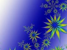 Imagem do Fractal com flores Para seu texto Cor azul Fotografia de Stock