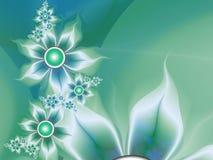 Imagem do Fractal com flores Para seu texto Cor verde Imagens de Stock